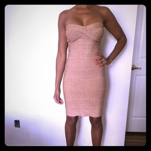 Herve Leger Midi Gold Body-Con dress